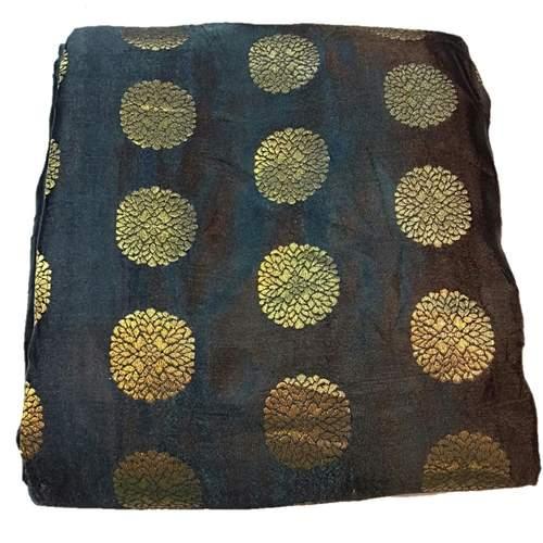 Brocade Silk Floral Design Fabric, Festival, (1 Meter) Black