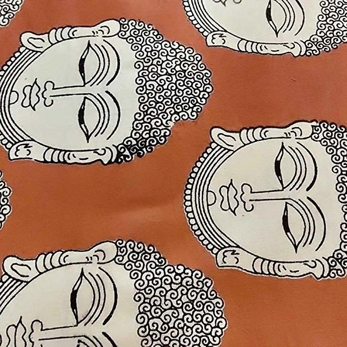 Cotton Kalamkari Handblock Saree BlouseKurti Fabric 100 cms Chockalate Colour - Budda Print Print