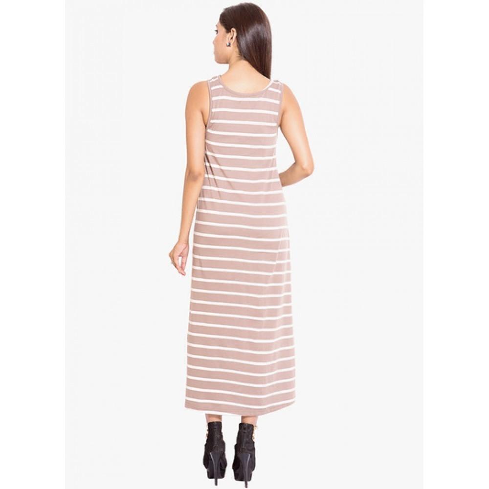 Lafacon-Brown-Coloured-Striped-Maxi-Dress