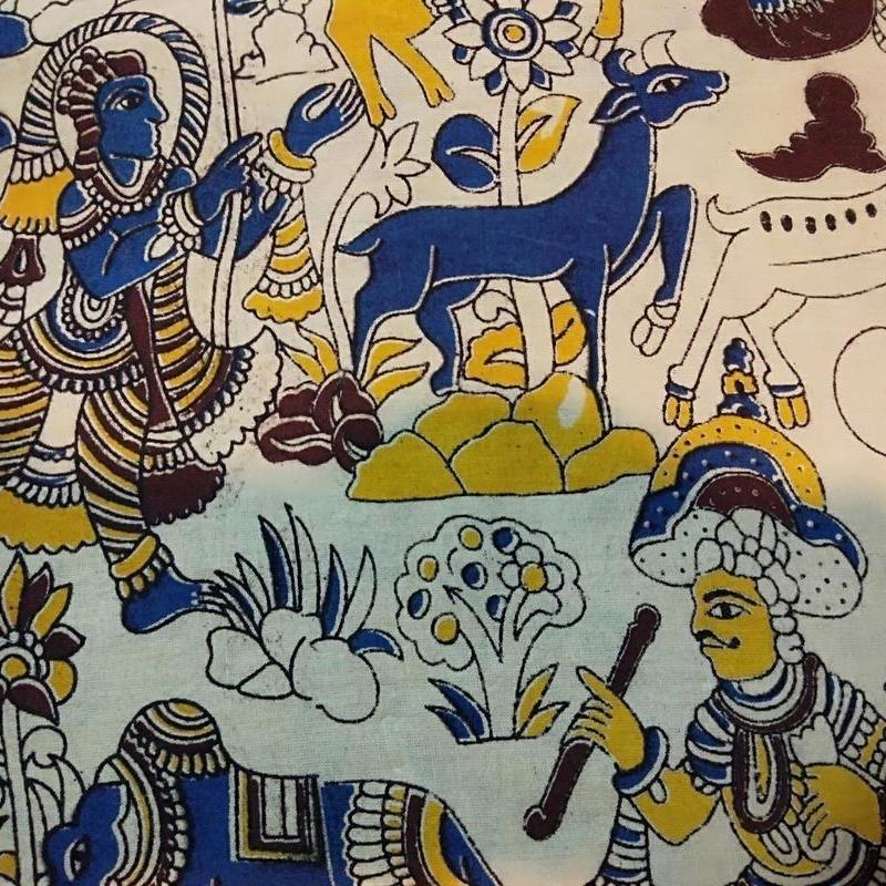 Cotton Kalamkari Handblock Saree BlouseKurti Fabric 100 cms - Animals Print - Cream Colour