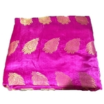 Rani Pink and Golden Floral Design Brocade Silk Fabric, Festival, (1 Meter) Leaf Design