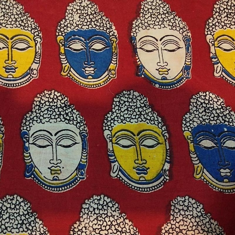 Cotton Kalamkari Handblock Saree BlouseKurti Fabric 100 cms - Budda Print - Red Colour
