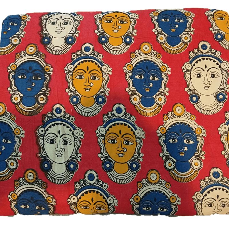 Cotton Kalamkari Handblock Saree Blouse/Kurti Fabric 100 cms - Base Dancer Print - Pink Colour