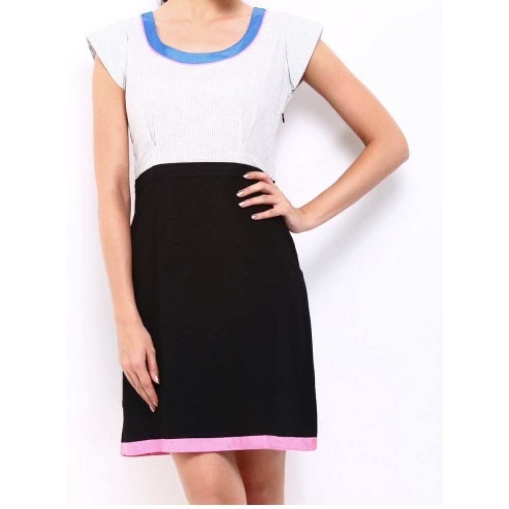 La Facon-Grey & Black Tailored Dress