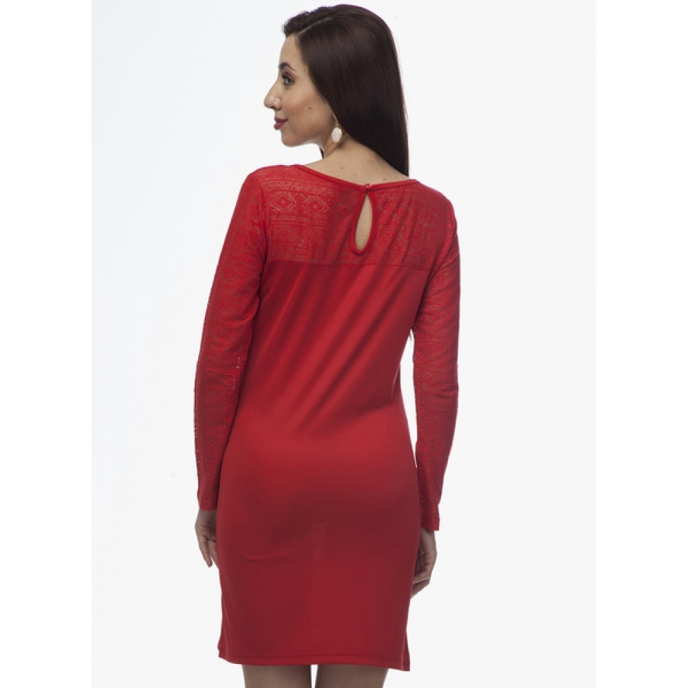 Lafacon-Red-Colored-Embroidered-Shift-Dress