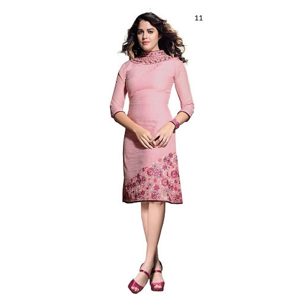 Lafacon Stitched Pink Solid Linen Kurti