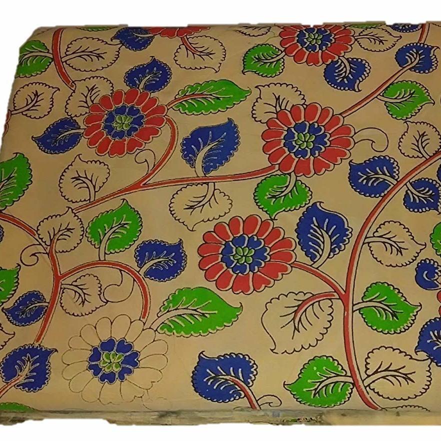 Cotton Kalamkari Handblock Saree BlouseKurti Fabric 100 cms - Flower Print