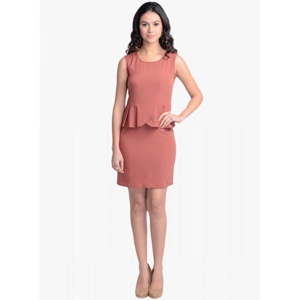 Lafacon-Peach-Solid-Peplum-Dress