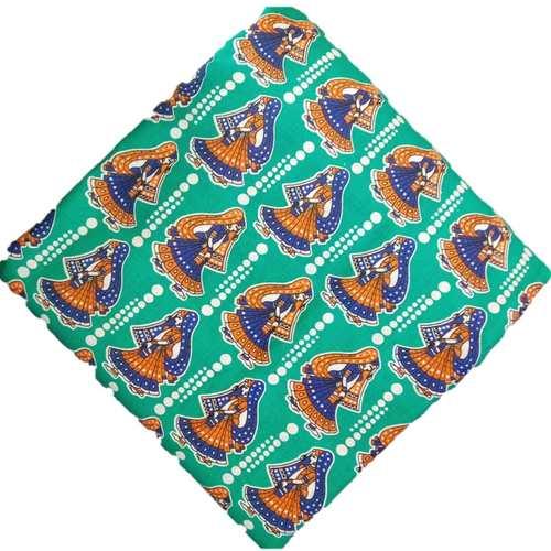 Cotton Kalamkari Hand block Saree Blouse/Kurti Fabric 100 cms - Green Colour - Ghumar Dancer Print