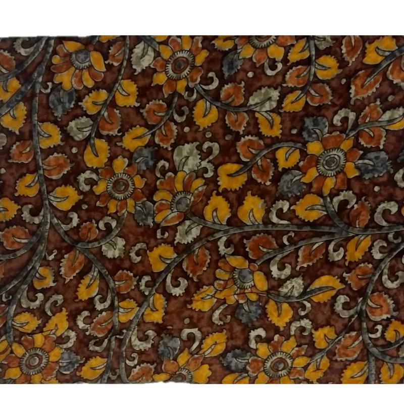 Rayon Kalamkari Handblock Saree BlouseKurti Fabric 100 cms - Floral Print - Chocolate Colour