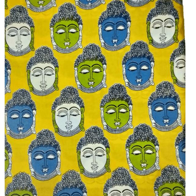Cotton Kalamkari Handblock Saree BlouseKurti Fabric 100 cms - Budda Print - Yellow Colour