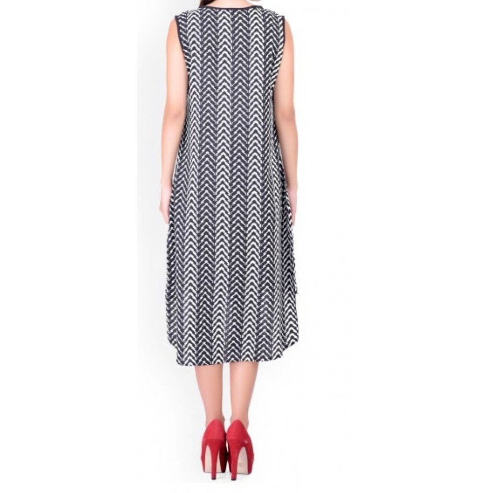 La Facon-Black & White Chevron Print Crepe High-Low Dress