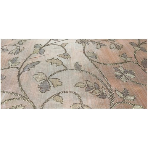 Peach Colour and Golden Floral Design Bamboo Jacquard Silk Fabric-For Wedding, Festival, Party Wear (1 Meter)