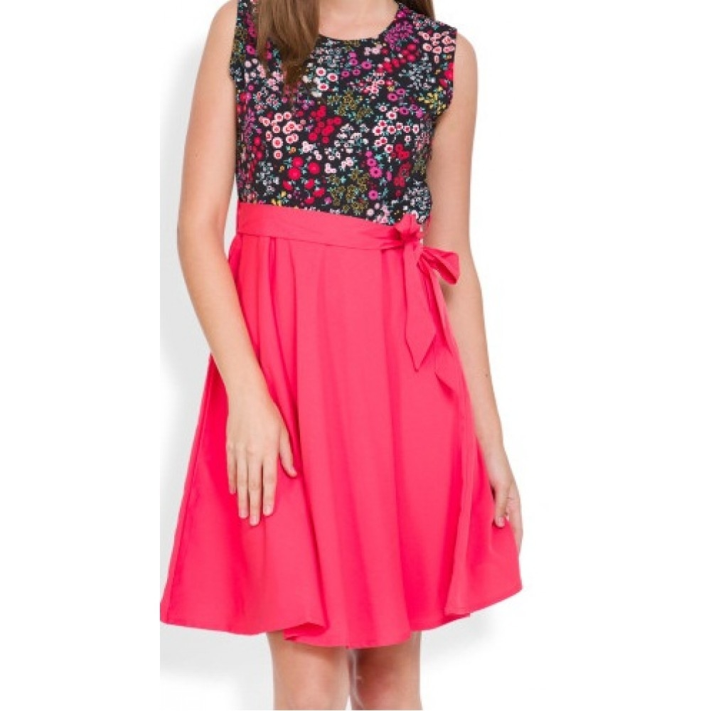 Lafacon-coral-pink--black-floral-print-fit--flare-dress