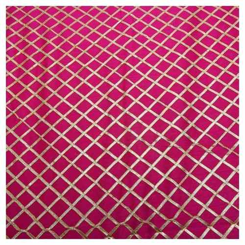 Womens Brocade Silk Fabric Gotta Patti Pattern Dress Material Pink, 1 Mtr, Free Size