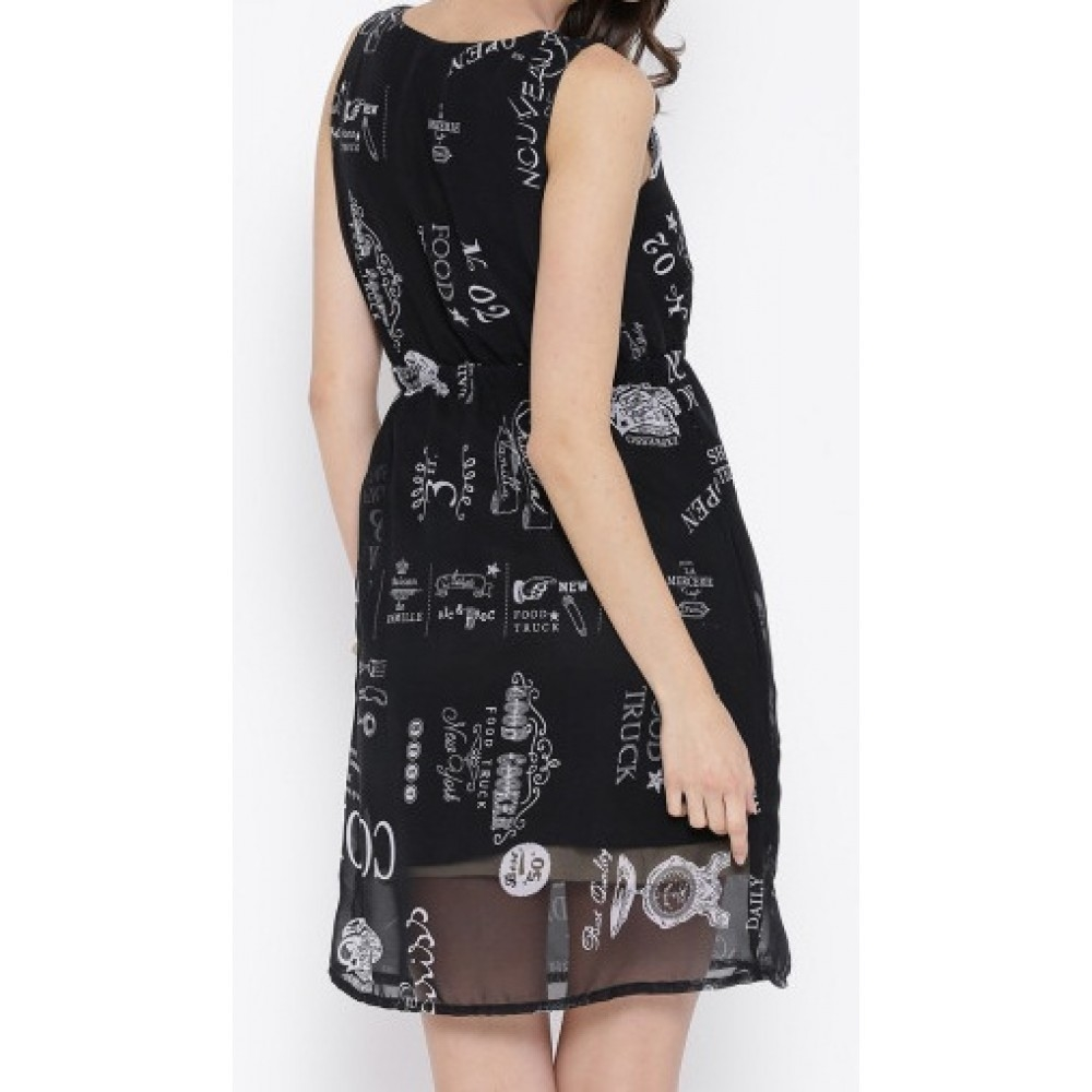 Lafacon-black-polyester-printed-fit--flare-dress
