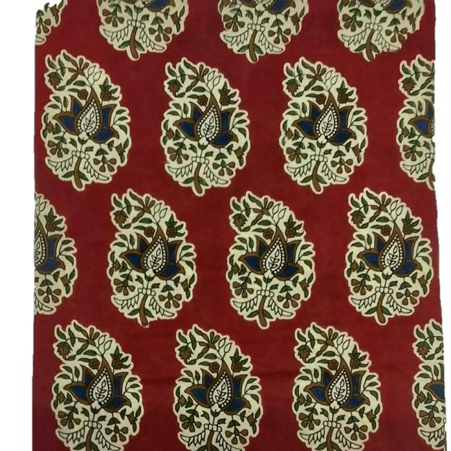 Cotton Kalamkari Handblock Saree BlouseKurti Fabric 100 cms - Beautiful Leaf Print - Red Colour