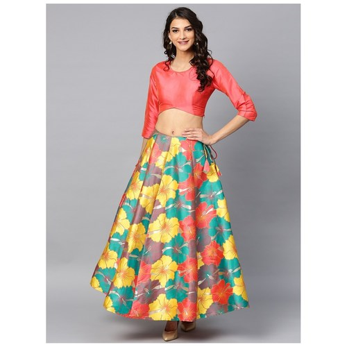 Multicolored Big Floral Jacquard Design Lehenga & Solid Blouse Set