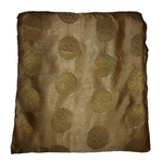 Chikkoo and Golden Floral Design Brocade Silk Fabric, Festival, (1 Meter)