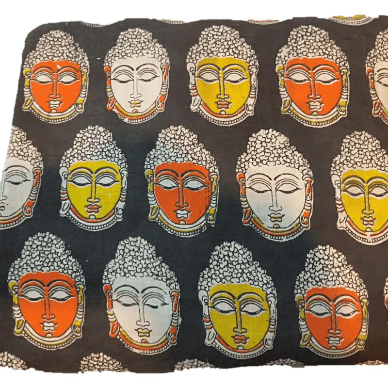 Cotton Kalamkari Handblock Saree BlouseKurti Fabric 100 cms - Budda Print - BlackColour