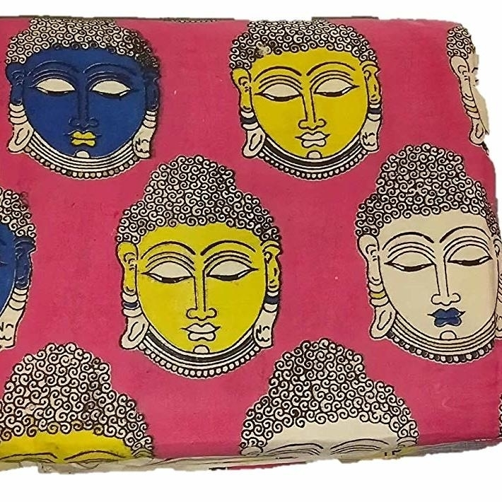 Cotton Kalamkari Handblock Saree Blouse/Kurti Fabric 100 cms Pink Colour - Budda Print