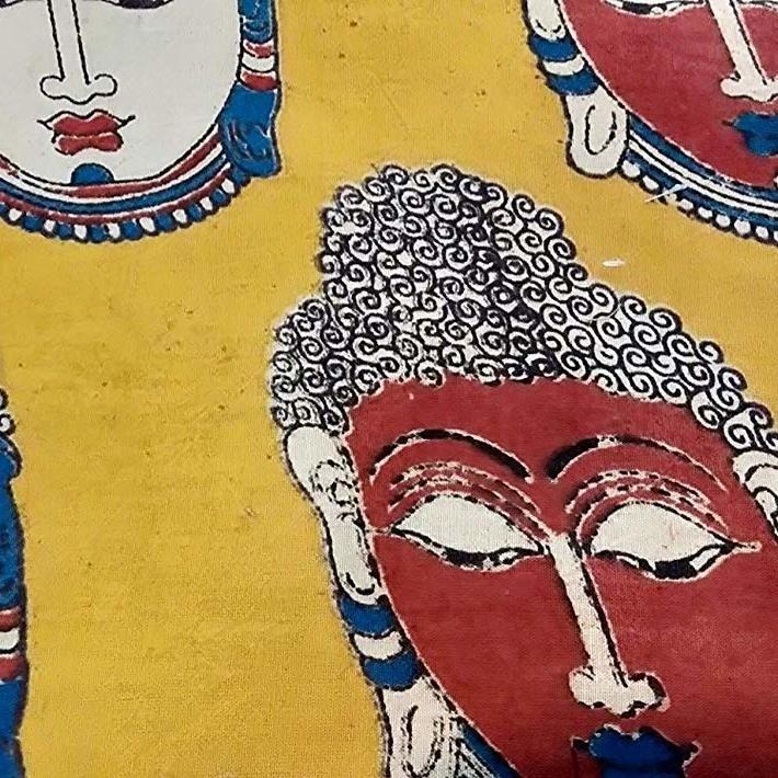 Cotton Kalamkari Handblock Saree Blouse/Kurti Fabric 100 cms Yellow Colour - Budda Print