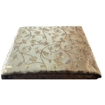 Cream and Golden Floral Design Bamboo Jacquard Silk Fabric-For Wedding, Festival, Party Wear 1 Meter