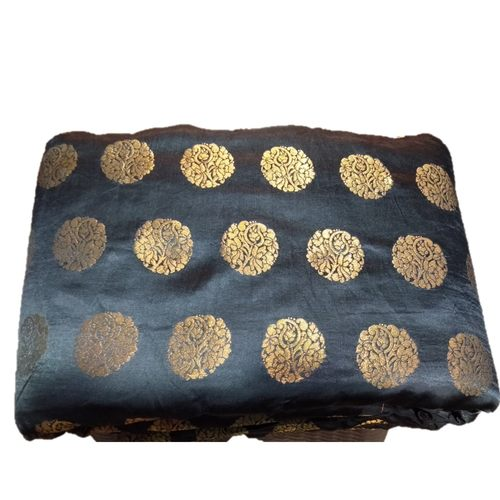 Black and Golden Floral Design Brocade Silk Fabric, Festival, (1 Meter) Gola Design
