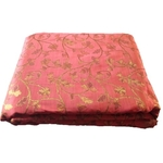 Gajree Colour and Golden Floral Design Bamboo Jacquard Silk Fabric, Festival, (1 Meter)