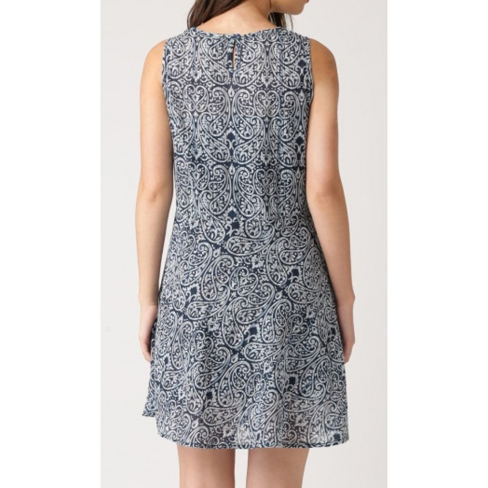 Lafacon-navy-printed-sleeveless-skater-dress