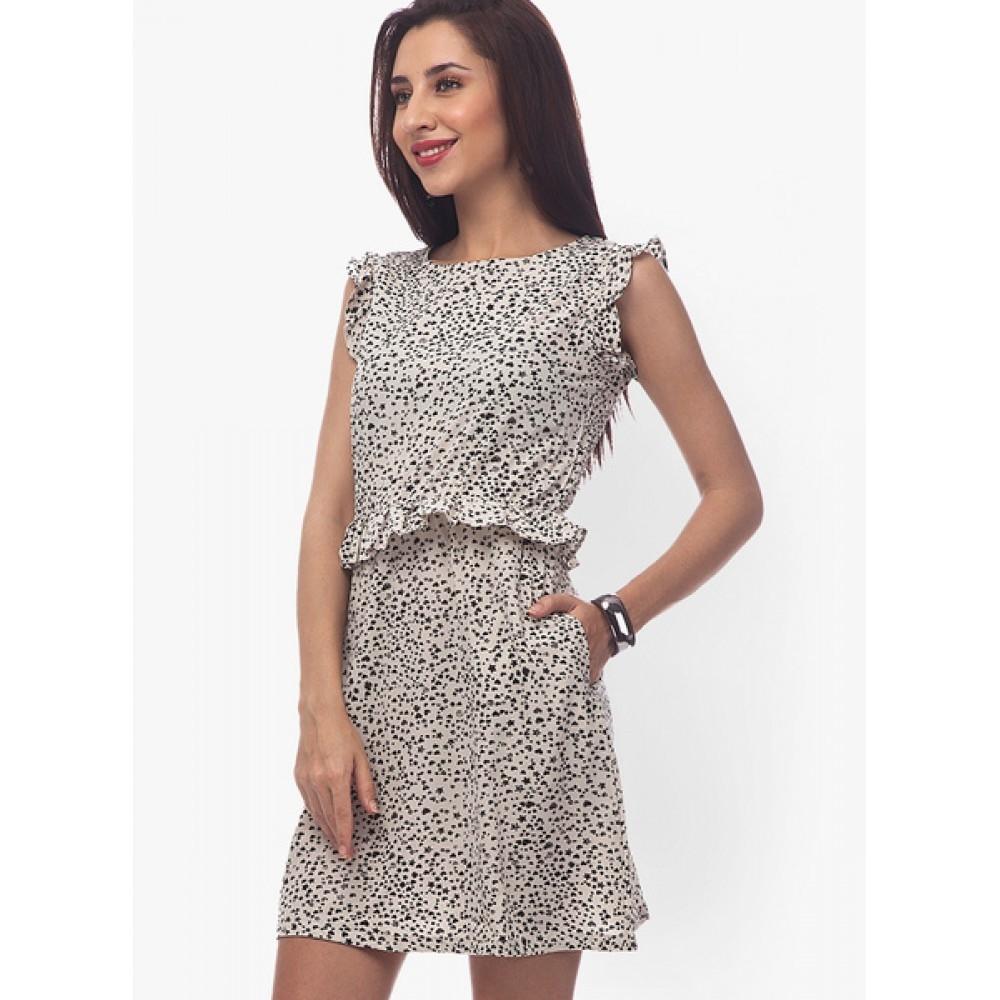 Lafacon-Black-Colored-Printed-Shift-Dress