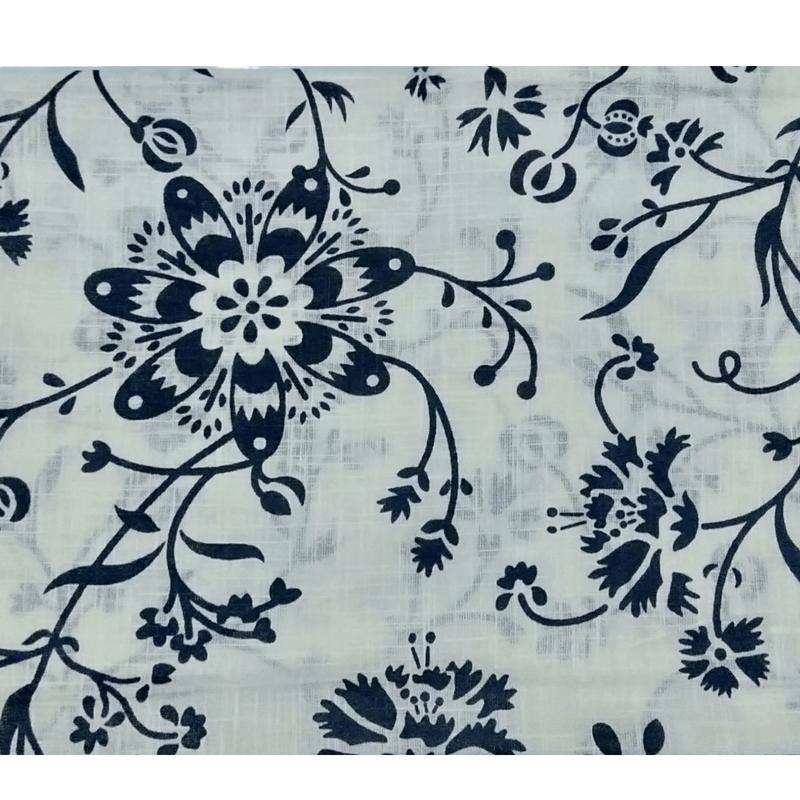 Cotton Kalamkari Handblock Saree BlouseKurti Fabric 100 cms -Floral Print - White Colour