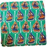 Cotton Kalamkari Handblock Saree BlouseKurti Fabric 100 cms Green- Haathi Moore Print