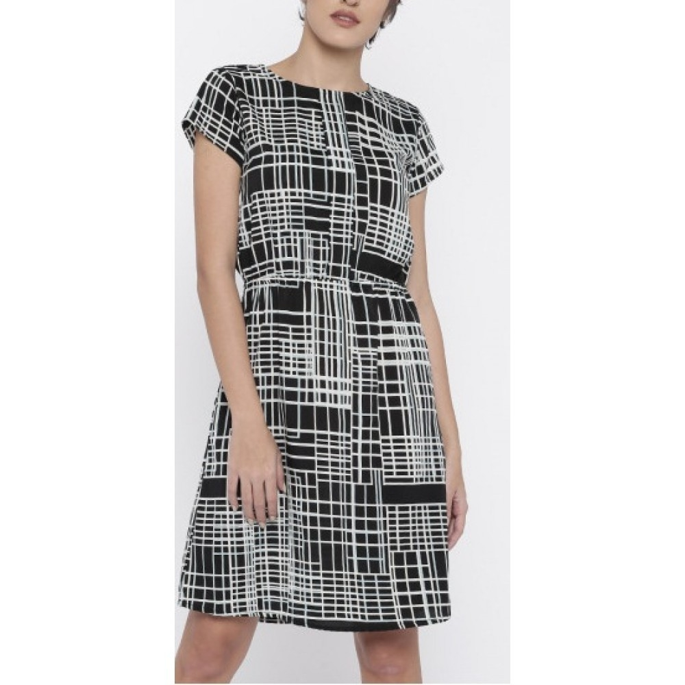La Facon-black-printed-a-line-dress
