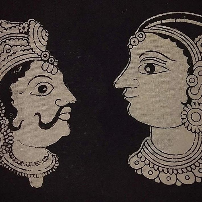 Cotton Kalamkari Handblock Saree Blouse/Kurti Fabric 100 cms Black Colour - Multi Base Dancers Print