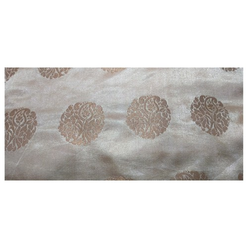 Chikkoo and Golden Floral Design Brocade Silk Fabric, Festival, (1 Meter) Gola Design