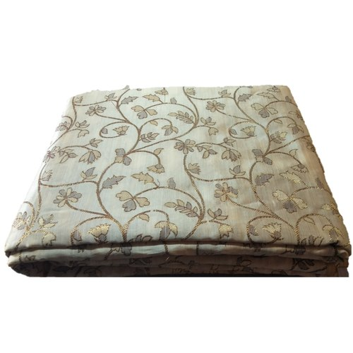 Chikoo and Golden Floral Design Bamboo Jacquard Silk Fabric, Festival, (1 Meter)