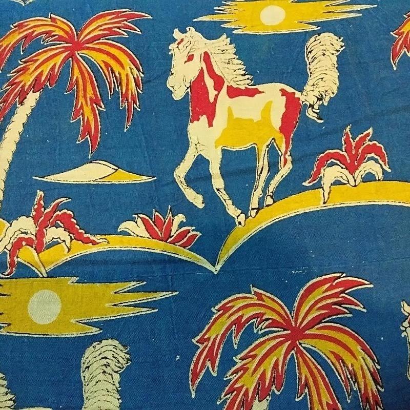 Cotton Kalamkari Handblock Saree BlouseKurti Fabric 100 cms - Horse Print - Blue Colour