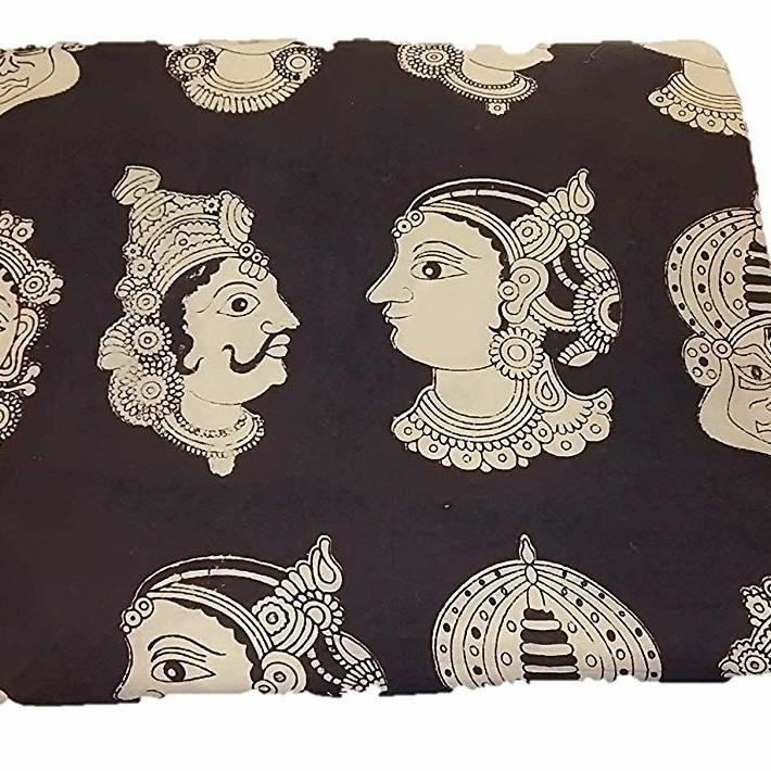 Cotton Kalamkari Handblock Saree Blouse/Kurti Fabric 100 cms Black Colour - Multi Base Dancers Print