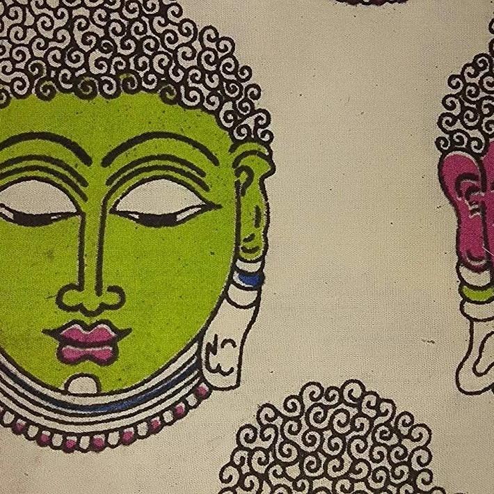 Cotton Kalamkari Handblock Saree Blouse/Kurti Fabric 100 cms Cream Colour - Budda Print