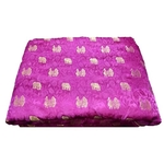 Rani Pink and Golden Floral Design Brocade Silk Fabric, Festival, 1 Meter Haathi More Design