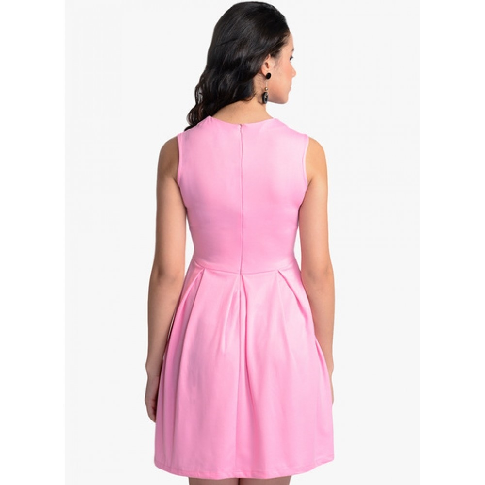 Lafacon-Pink-Solid-Skater-Dress