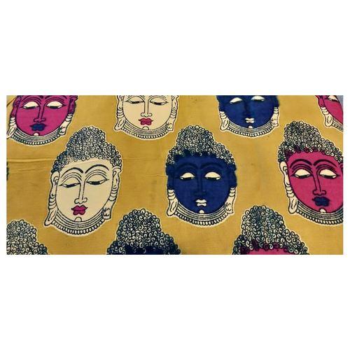Rayon Kalamkari Handblock Saree BlouseKurti Fabric 100 cms - Yellow Budda Print