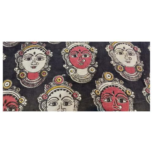 Cotton Kalamkari Handblock Saree Blouse/Kurti Fabric 100 cms - Red & white Base Dancer Print