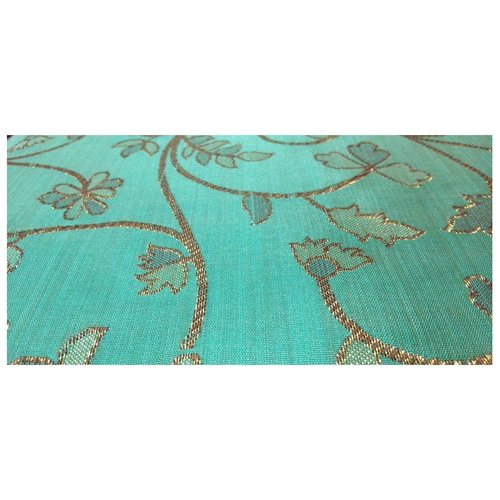 Firozi Colour and Golden Floral Design Bamboo Jacquard Silk Fabric, Festival, (1 Meter)