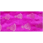 Rani Pink and Golden Floral Design Brocade Silk Fabric, Festival, (1 Meter) Bell Design