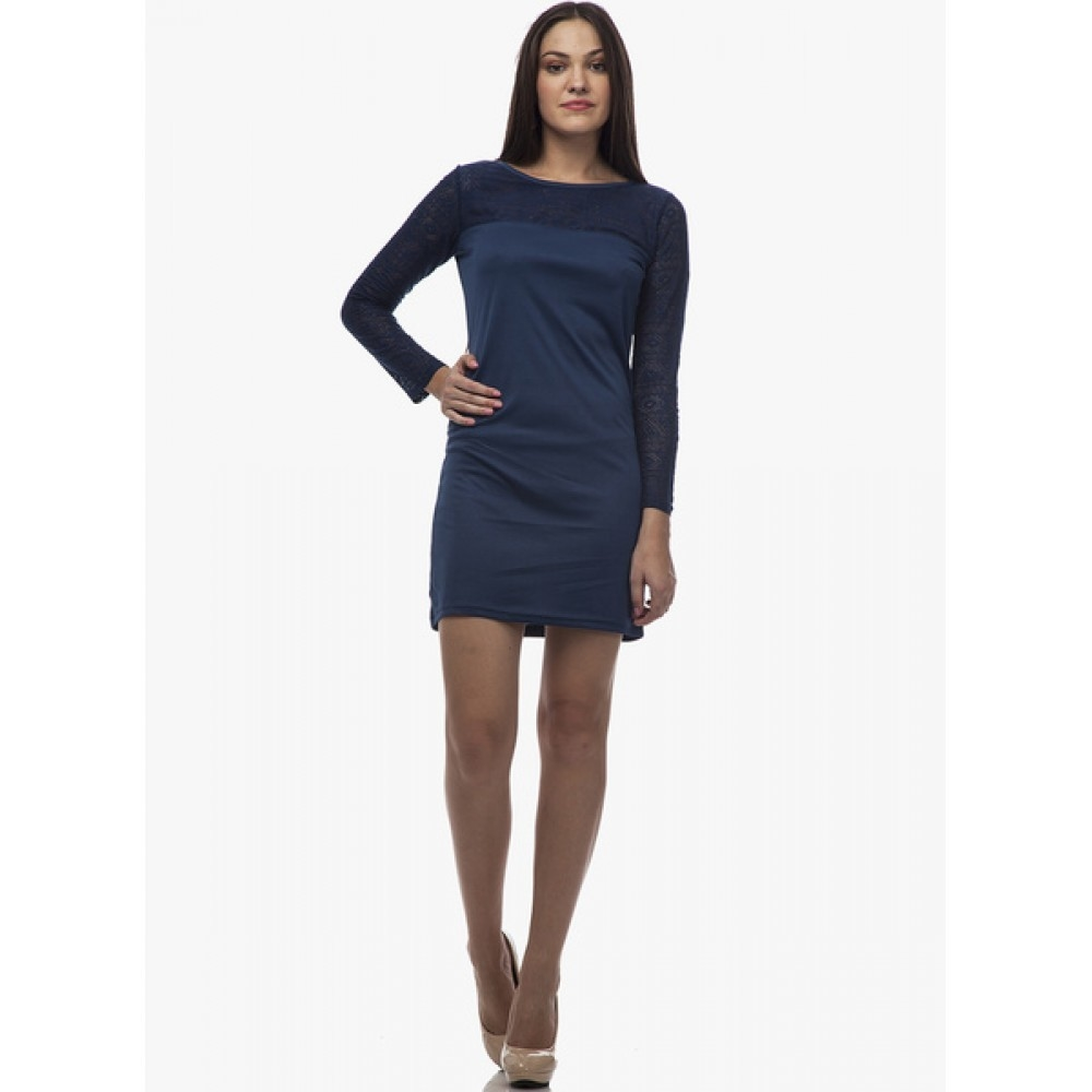 Lafacon-Blue-Colored-Embroidered-Shift-Dress