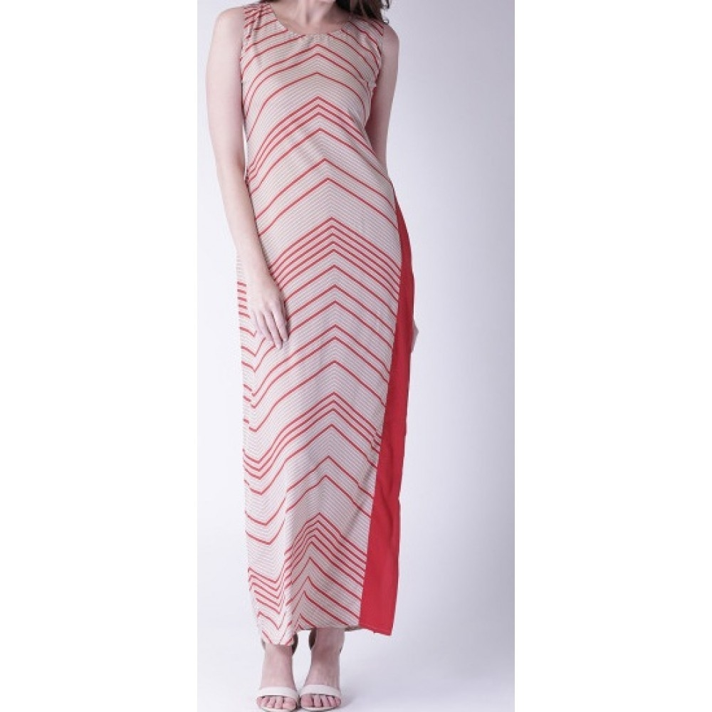 Lafacon--red--beige-printed-maxi-dress