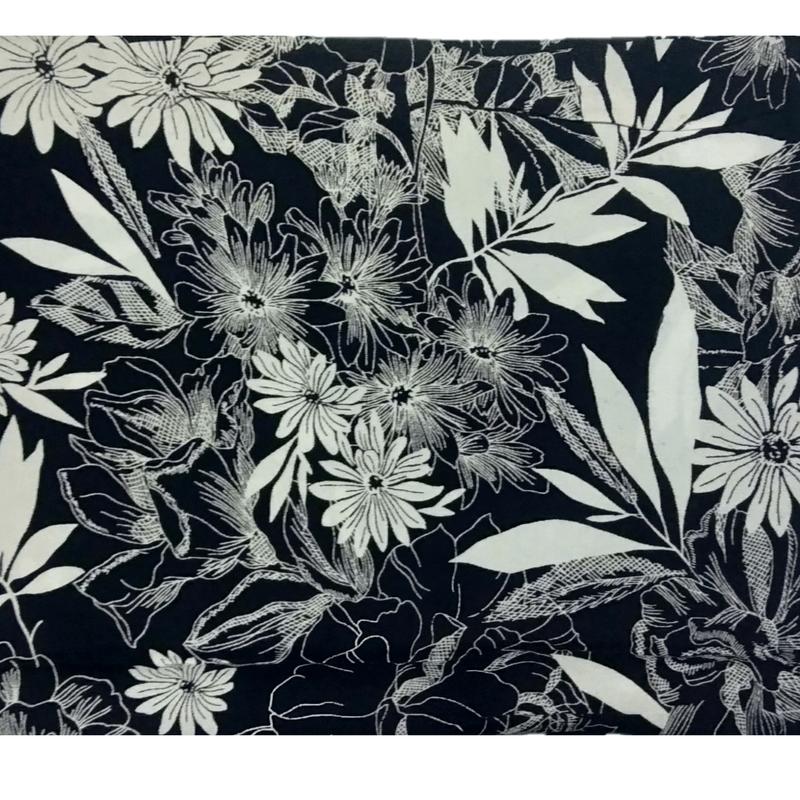 Cotton Kalamkari Handblock Saree BlouseKurti Fabric 100 cms - Floral Print - Black Colour