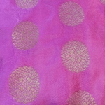 Pink and Golden Floral Design Brocade Silk Fabric, Festival, (1 Meter)